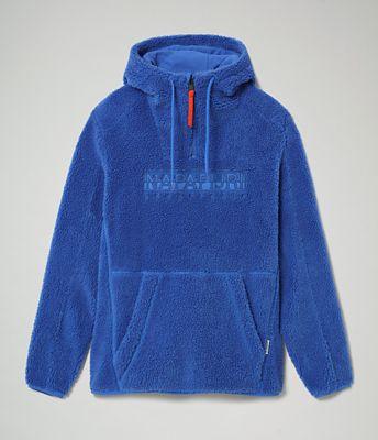 Napapijri fleece trui rits capuchon donkerblauw